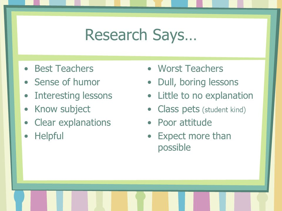 Research Says… Best Teachers Sense of humor Interesting lessons