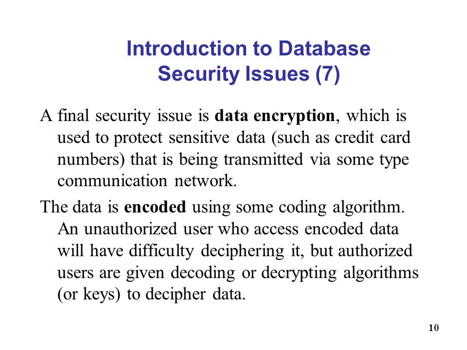 Introduction to Database Security Issues (7)