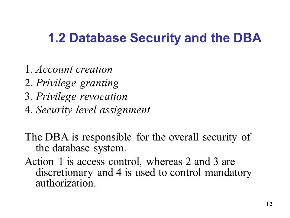 1.2 Database Security and the DBA