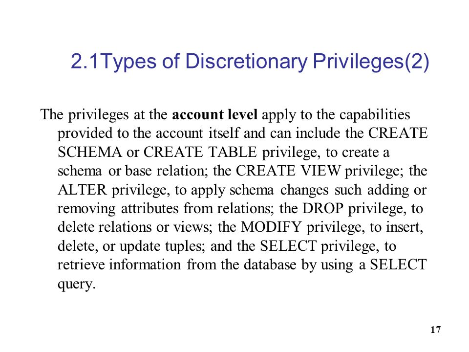 2.1Types of Discretionary Privileges(2)