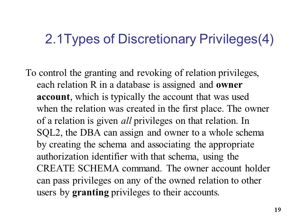 2.1Types of Discretionary Privileges(4)