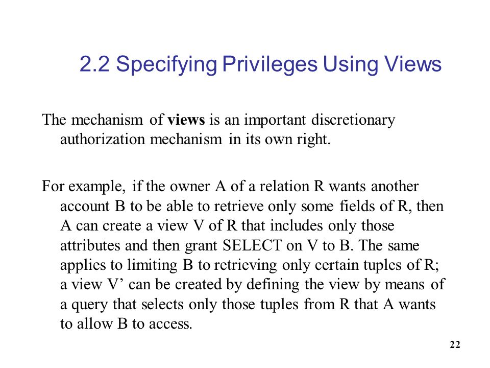 2.2 Specifying Privileges Using Views