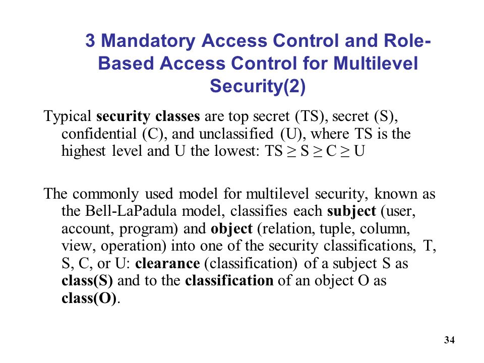 3 Mandatory Access Control and Role-Based Access Control for Multilevel Security(2)