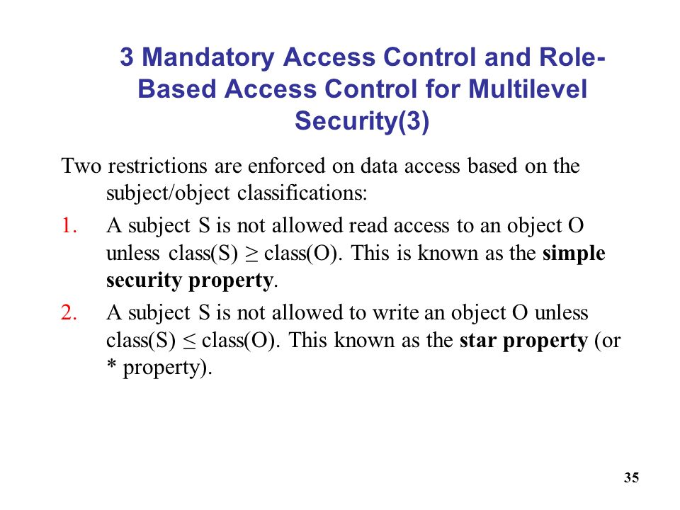 3 Mandatory Access Control and Role-Based Access Control for Multilevel Security(3)