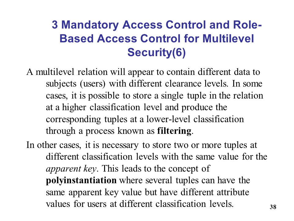 3 Mandatory Access Control and Role-Based Access Control for Multilevel Security(6)
