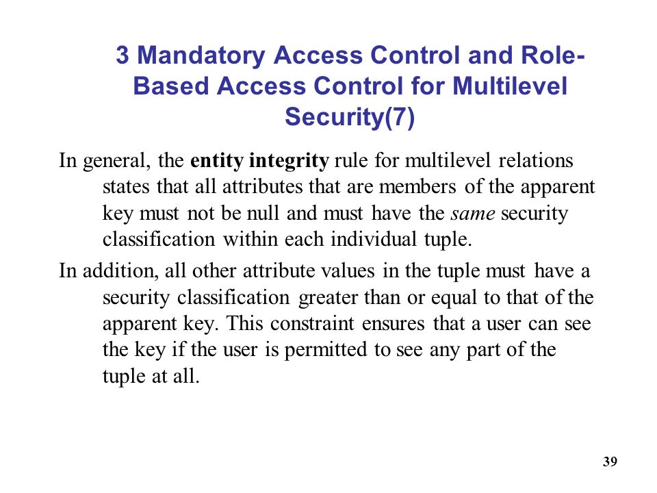 3 Mandatory Access Control and Role-Based Access Control for Multilevel Security(7)