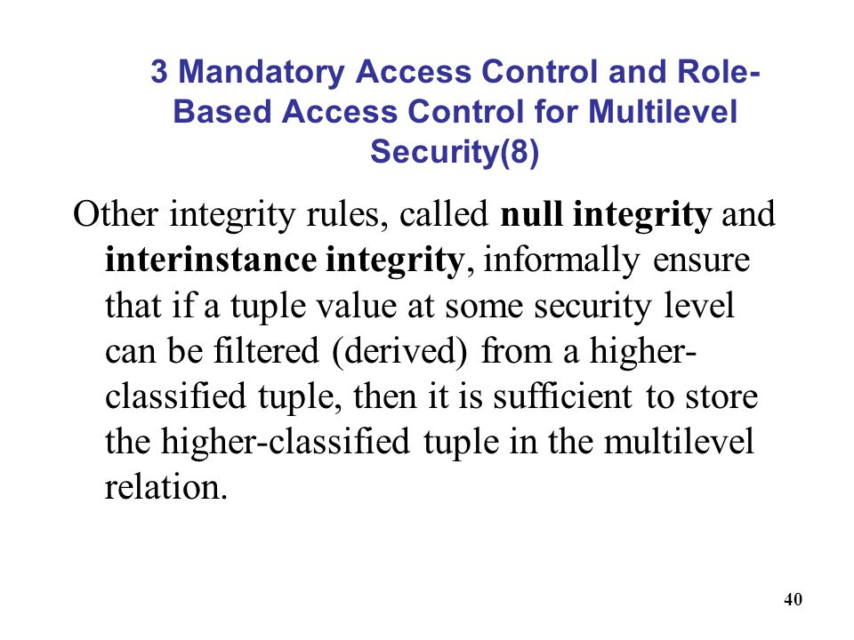 3 Mandatory Access Control and Role-Based Access Control for Multilevel Security(8)