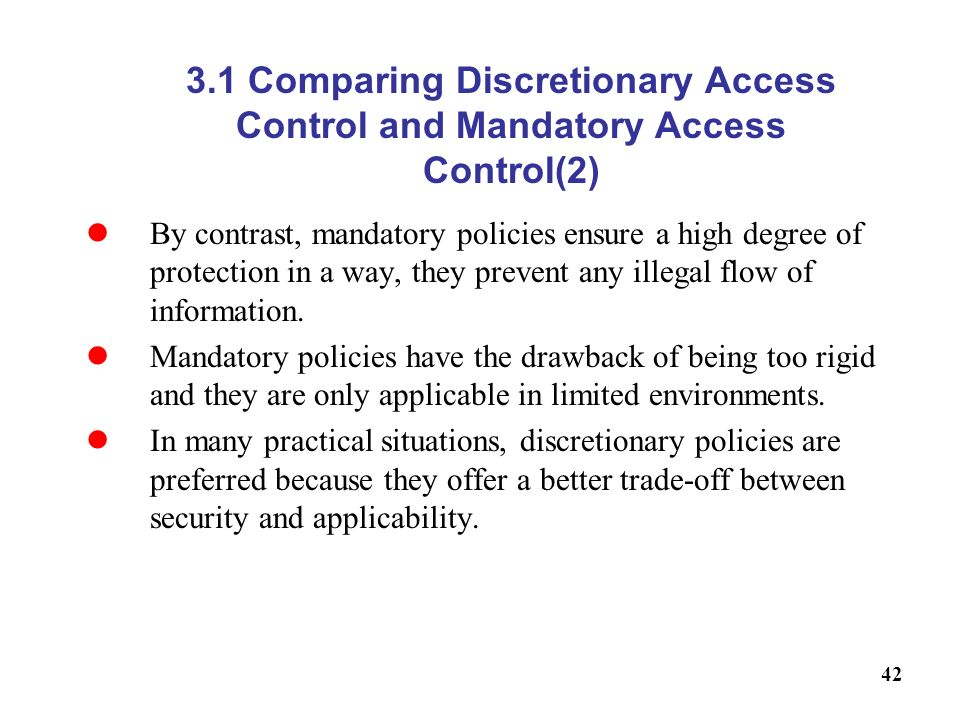 3.1 Comparing Discretionary Access Control and Mandatory Access Control(2)