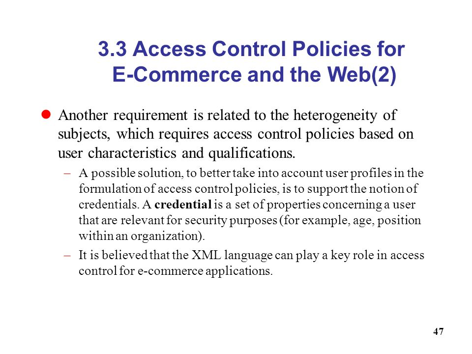 3.3 Access Control Policies for E-Commerce and the Web(2)
