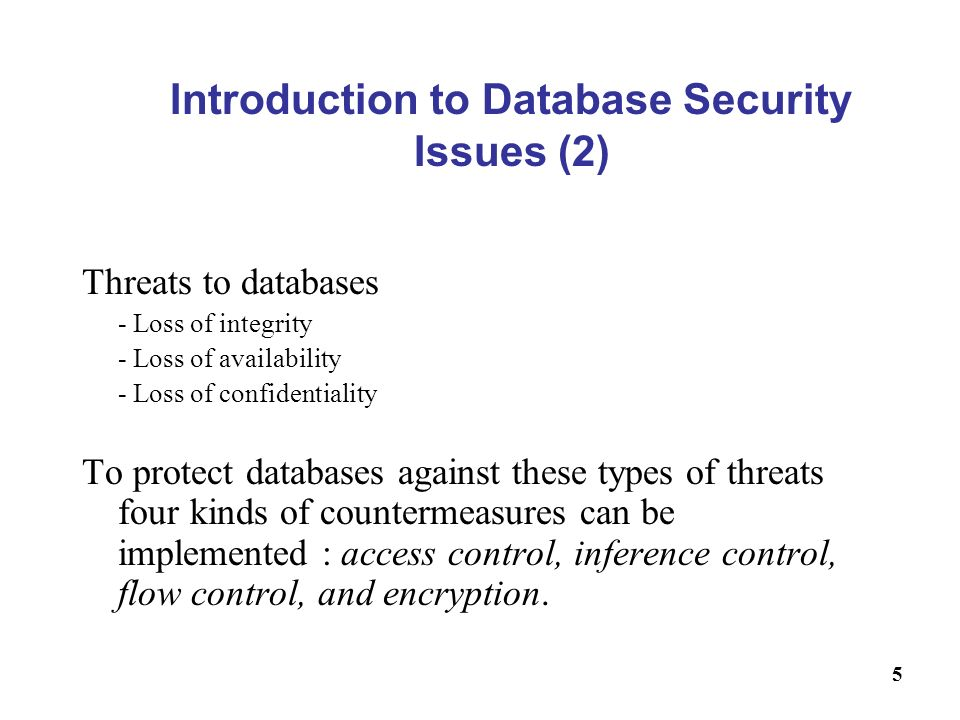 Introduction to Database Security Issues (2)