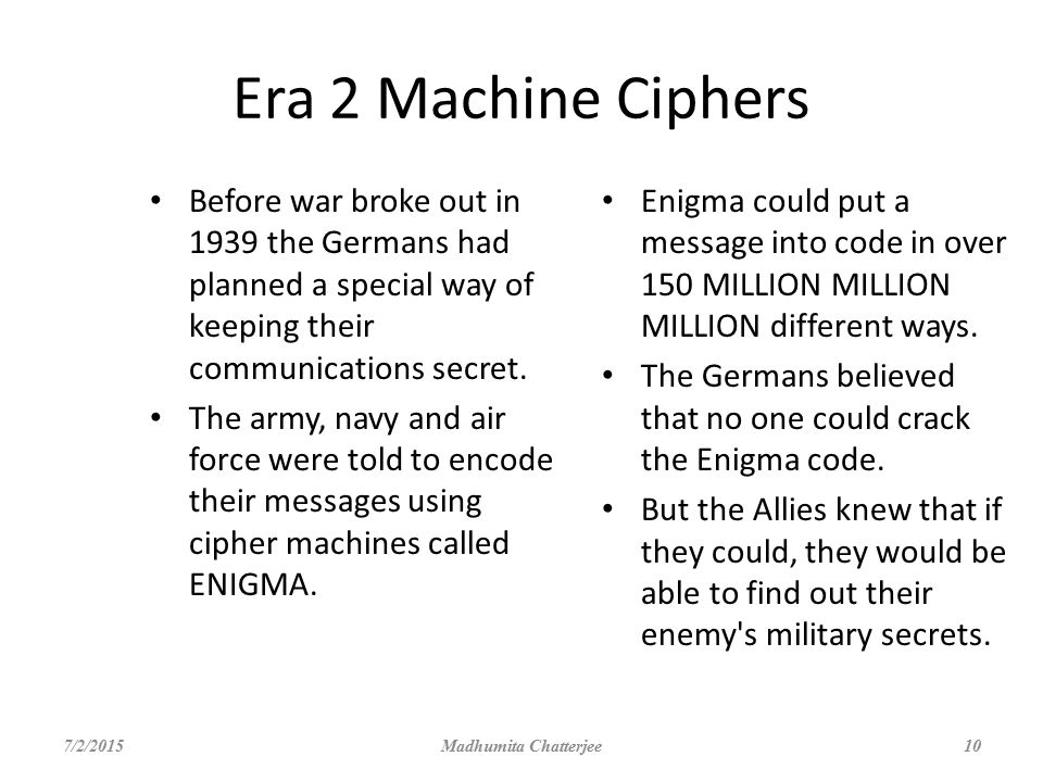 Era 2 Machine Ciphers Before war broke out in 1939 the Germans had planned a special way of keeping their communications secret.