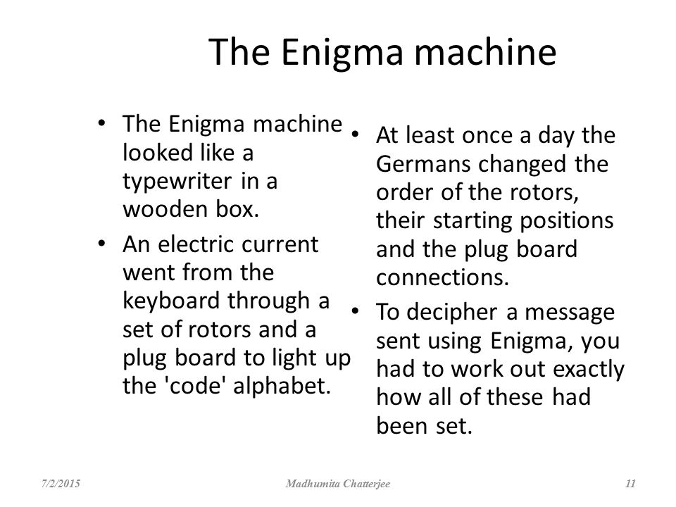 The Enigma machine The Enigma machine looked like a typewriter in a wooden box.