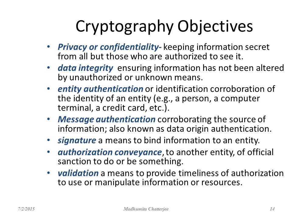 Cryptography Objectives
