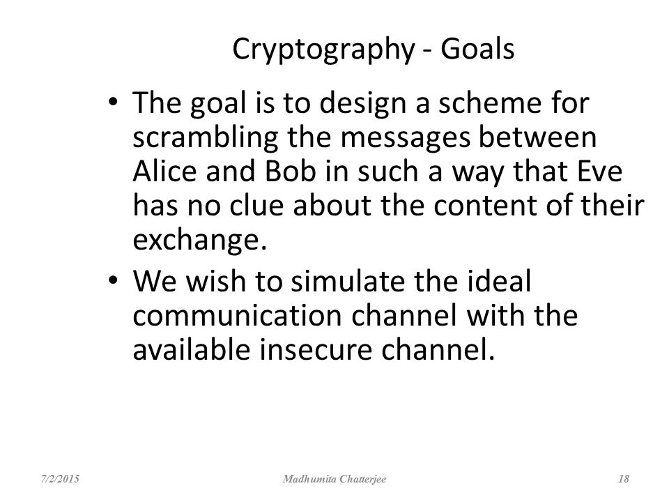Cryptography - Goals
