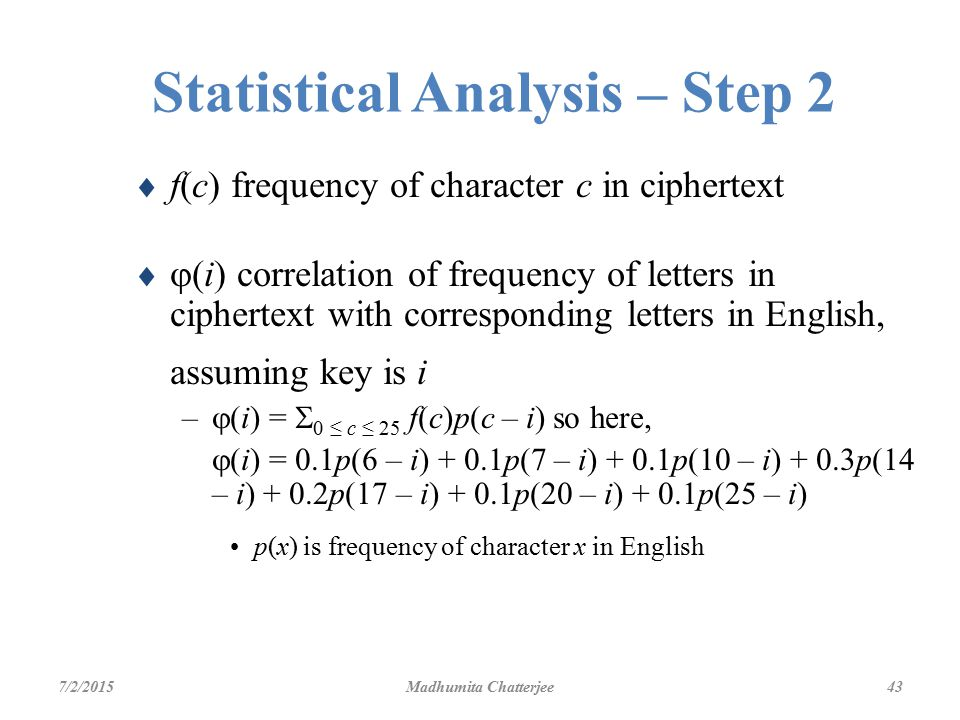 elementary cryptography ppt  statistical analysis step 2
