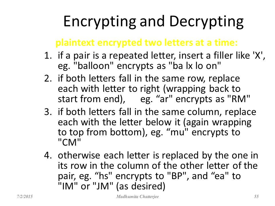 Encrypting and Decrypting