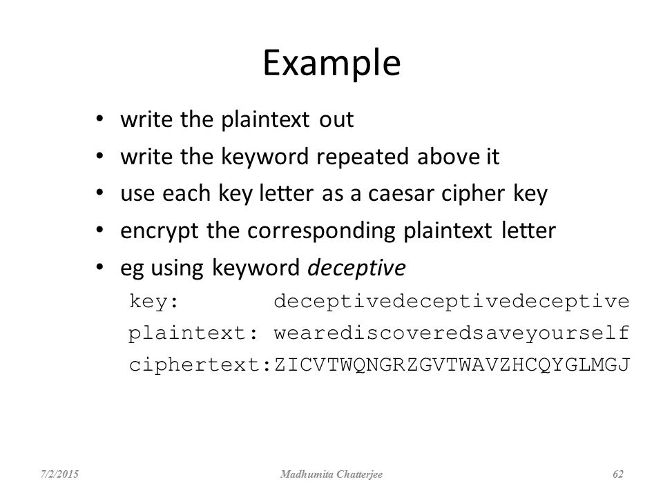 Example write the plaintext out write the keyword repeated above it
