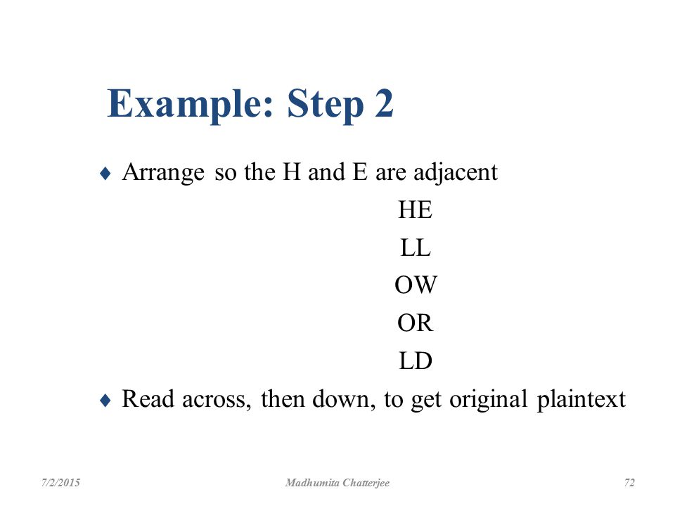 Example: Step 2 Arrange so the H and E are adjacent HE LL OW OR LD