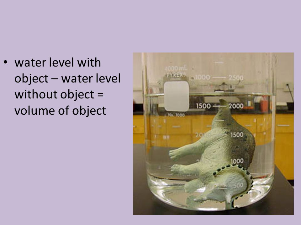 water level with object – water level without object = volume of object