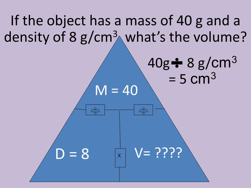 If the object has a mass of 40 g and a density of 8 g/cm3, what's the volume