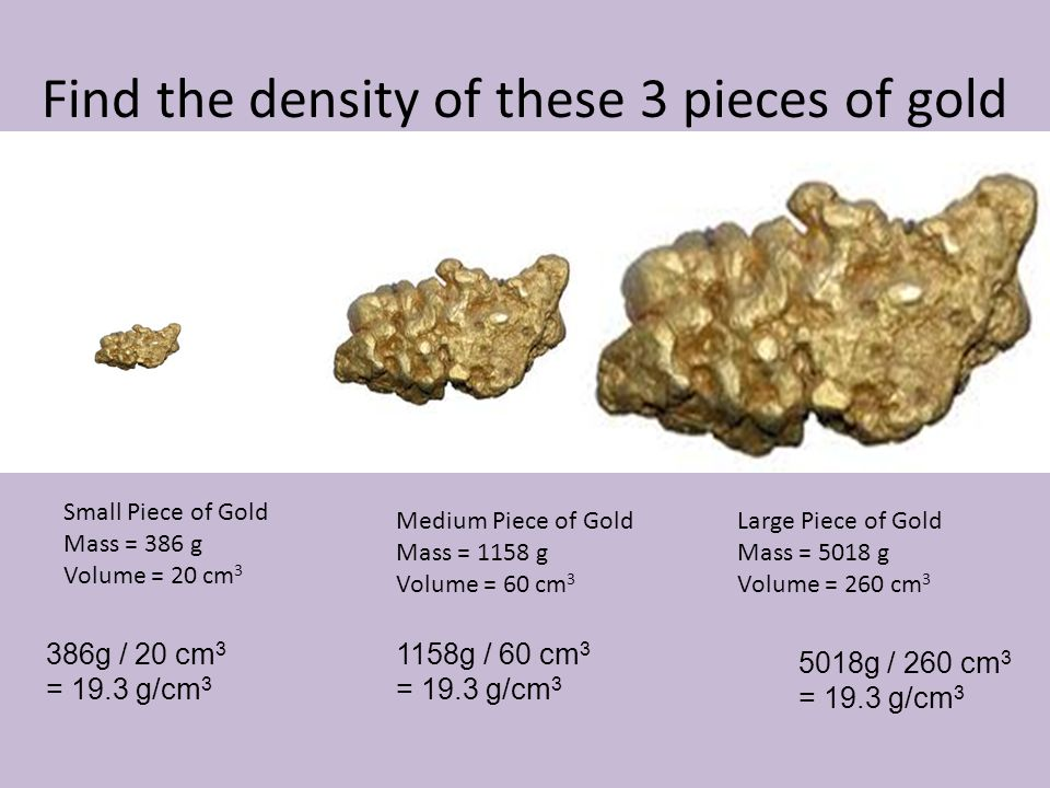 Find the density of these 3 pieces of gold