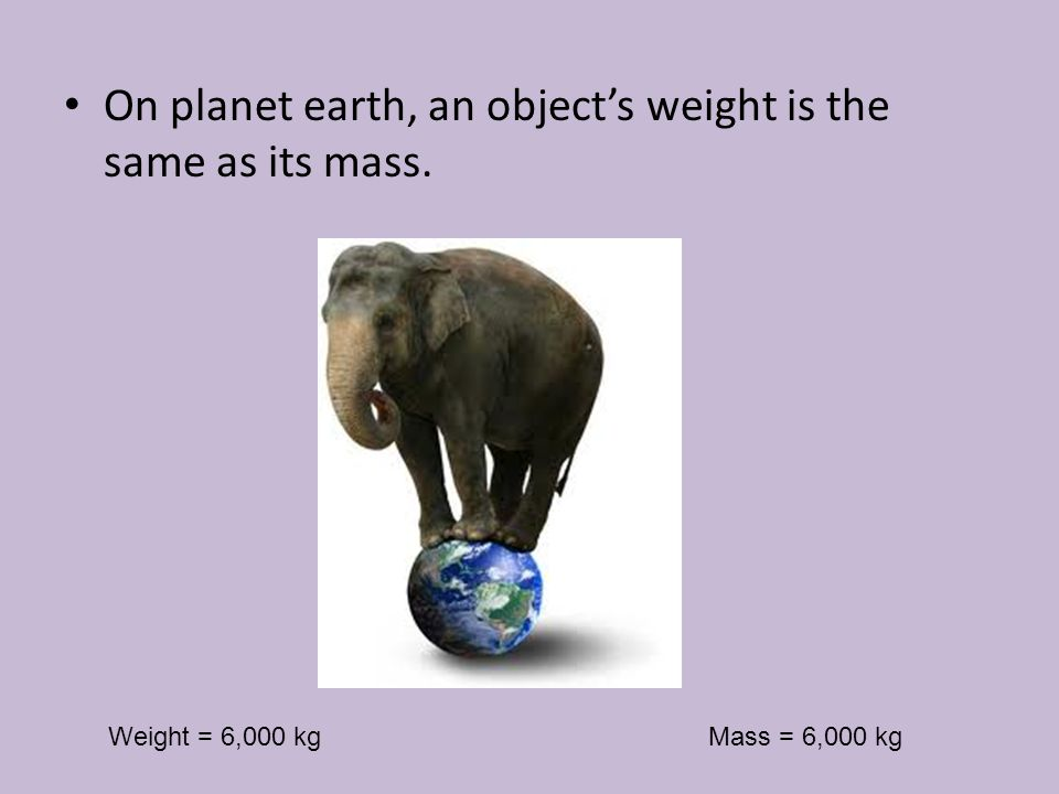 On planet earth, an object's weight is the same as its mass.