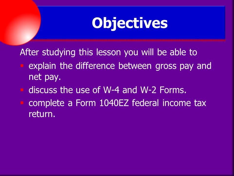 lesson plans income tax form 1040ez