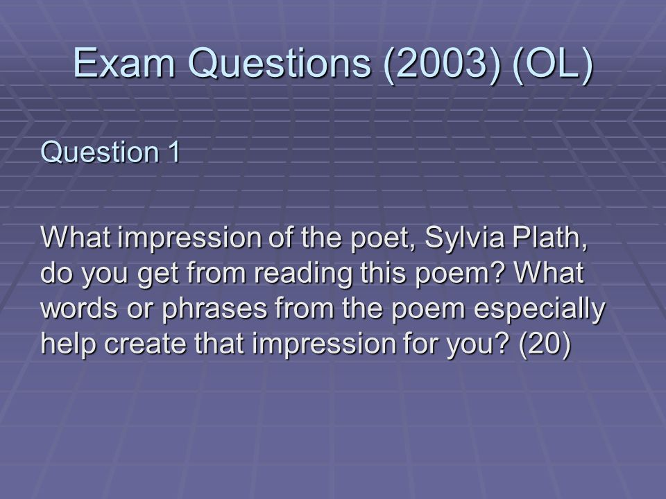 an examination sylvia plaths Start studying sylvia plath - edge learn vocabulary, terms, and more with flashcards, games, and other study tools.