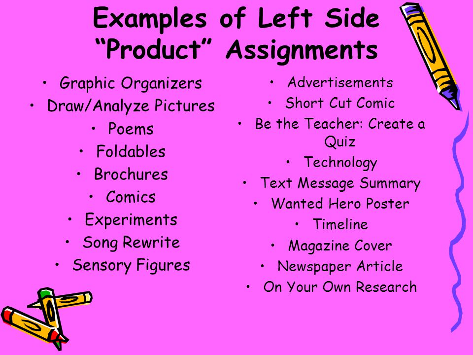 Examples of Left Side Product Assignments