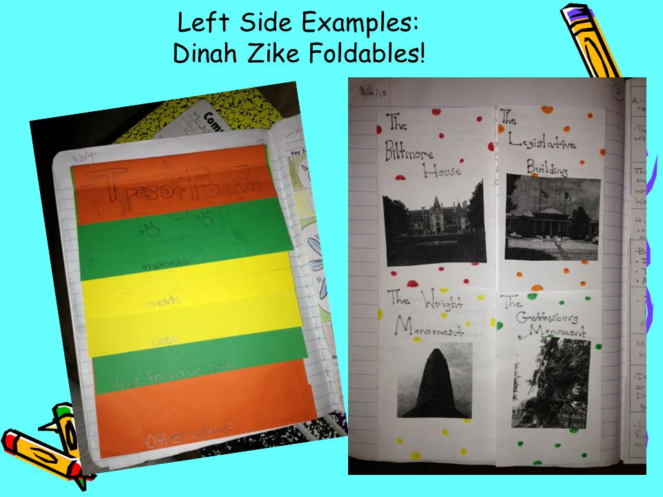 Left Side Examples: Dinah Zike Foldables!