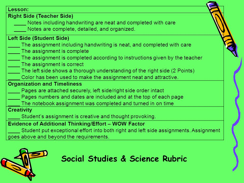 Social Studies & Science Rubric