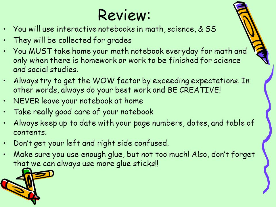 Review: You will use interactive notebooks in math, science, & SS