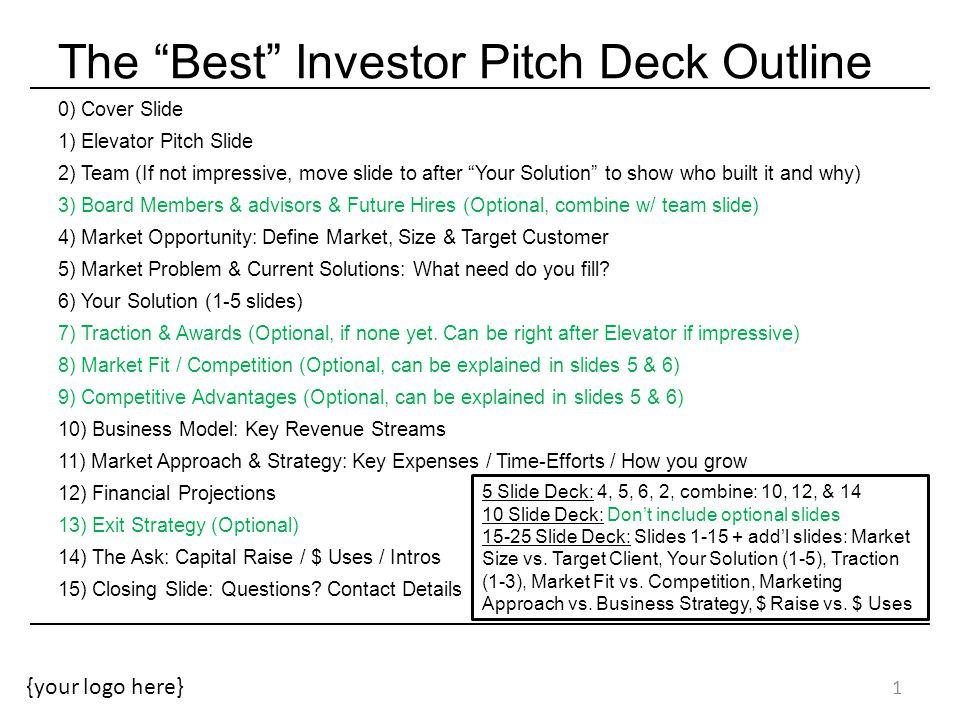 "The ""Best"" Investor Pitch Deck Outline - Ppt Video Online Download"