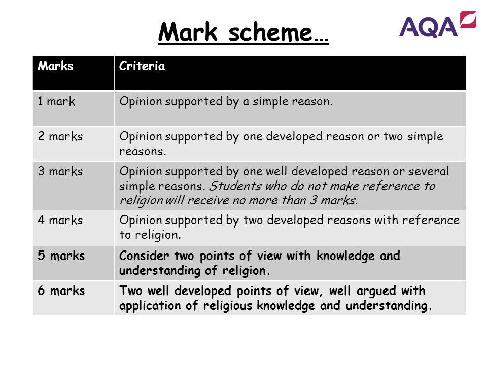 Mark scheme… Marks Criteria 1 mark