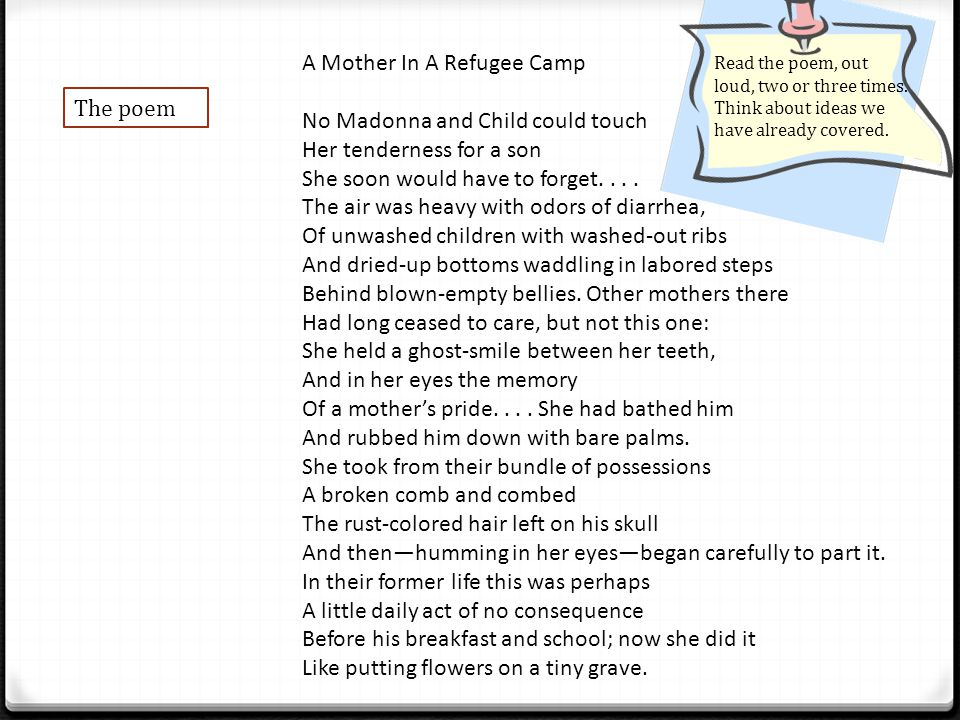 analysis refugee mother and child Analysis of refugee mother and child by chinua achebe the success of the poem refugee mother and child lies within chinua achebe's ability to present an interfering, yet authentic and compelling poem.