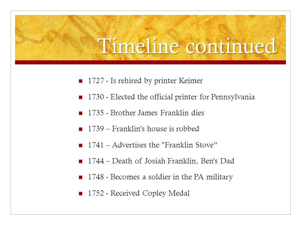 benjamin franklin timeline