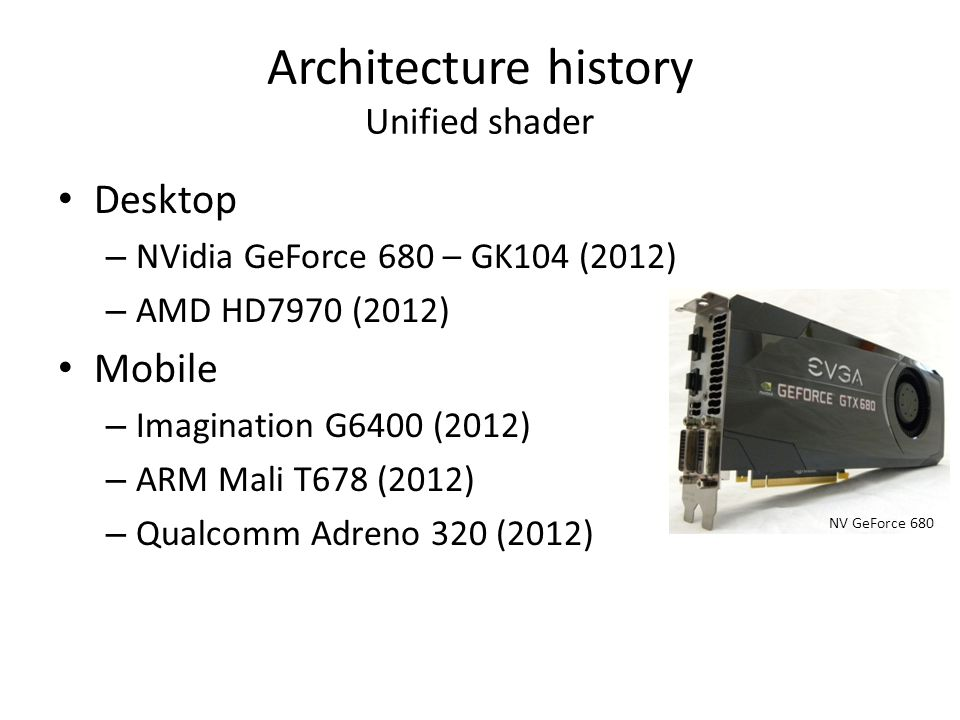 Architecture history Unified shader
