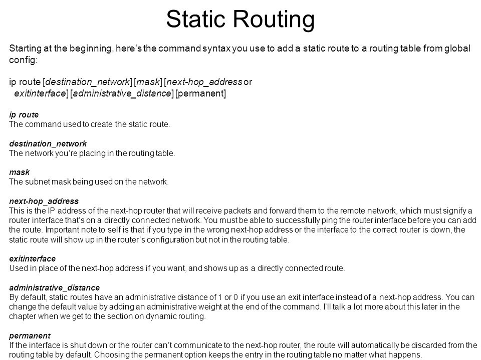 Instructor todd lammle ppt video online download static routing starting at the beginning heres the command syntax you use to add a greentooth