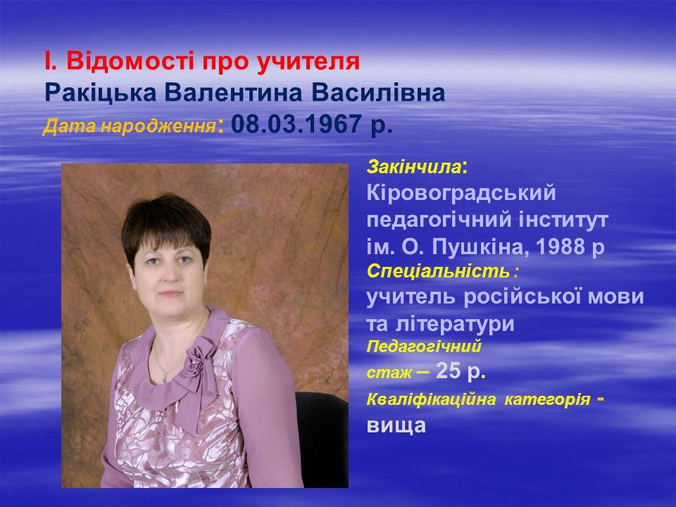 І. Відомості про учителя Ракіцька Валентина Василівна