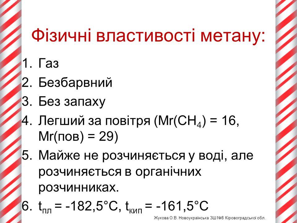 Фізичні властивості метану: