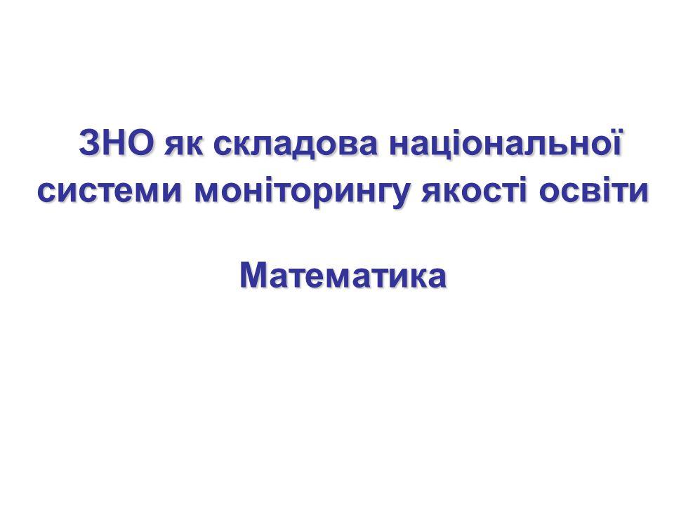 ЗНО як складова національної системи моніторингу якості освіти Математика