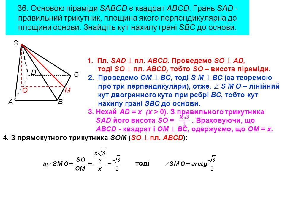 36. Основою піраміди SABCD є квадрат ABCD