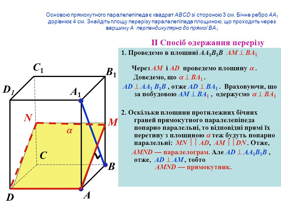 C1 B1 D1 A1 N M C B A D  IІ Спосіб одержання перерізу