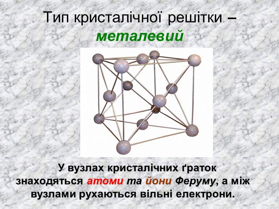 Тип кристалічної решітки – металевий