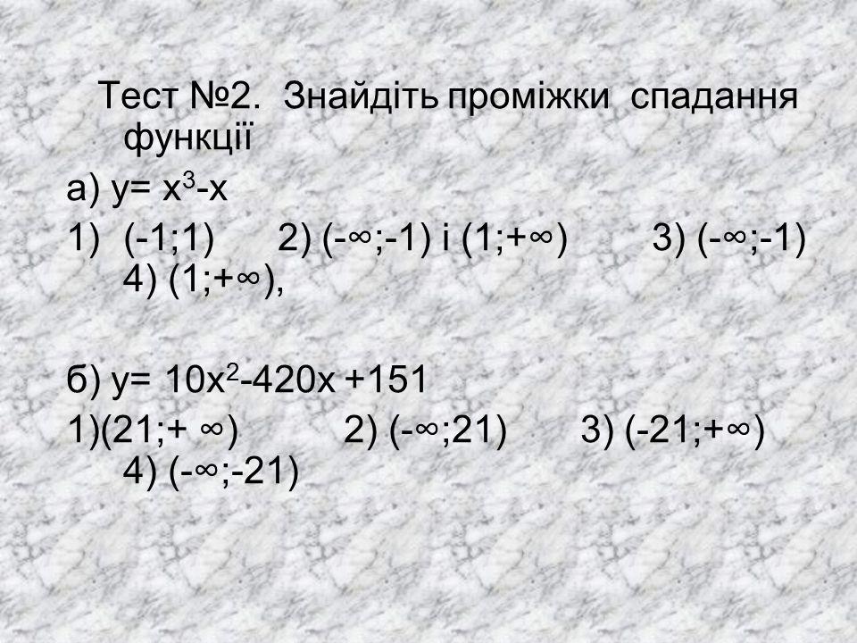 Тест №2. Знайдіть проміжки спадання функції