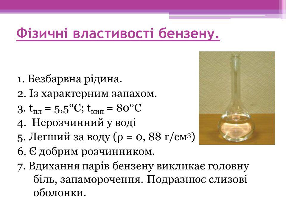Фізичні властивості бензену.