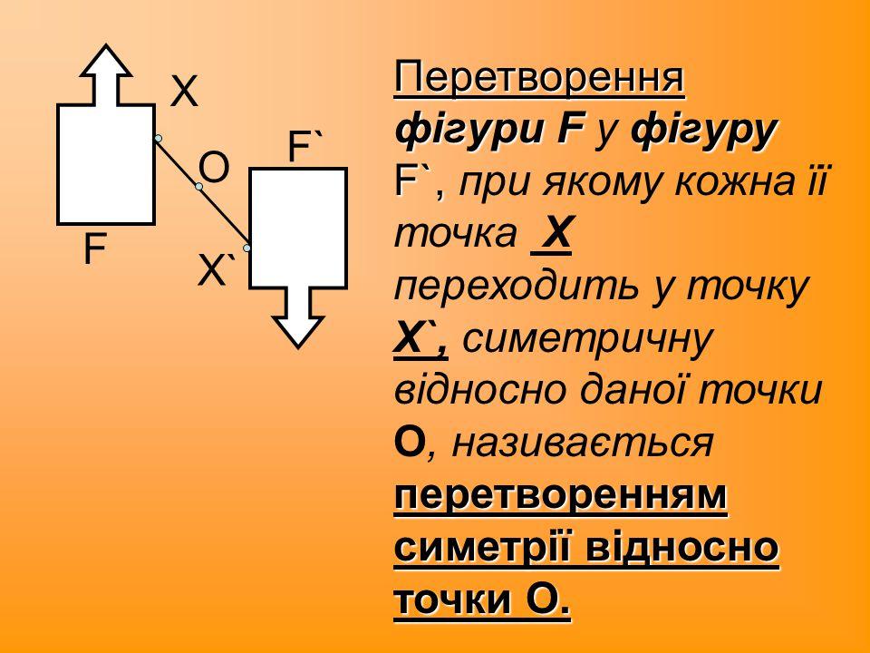Перетворення фігури F у фігуру F`, при якому кожна її точка X переходить у точку X`, симетричну відносно даної точки О, називається перетворенням симетрії відносно точки О.