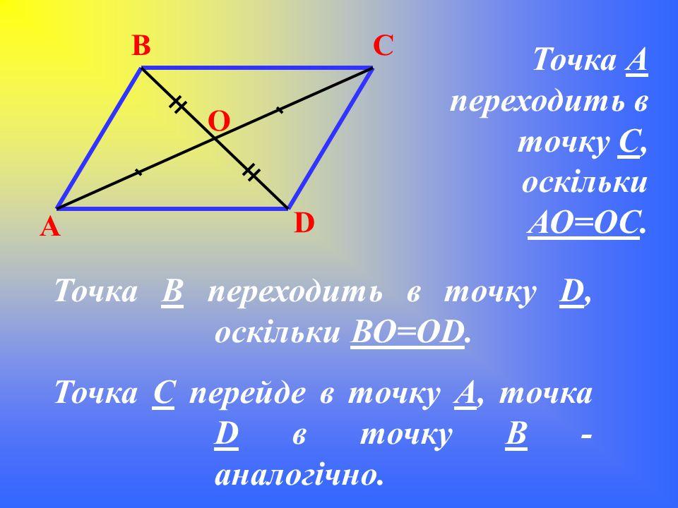 Точка А переходить в точку С, оскільки АО=ОС.