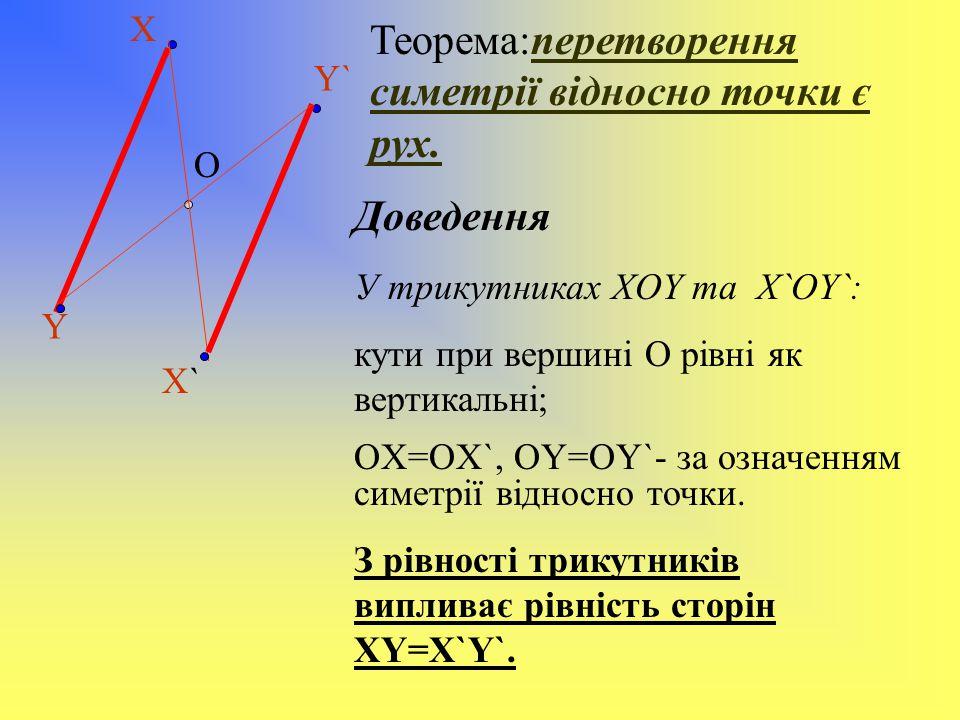 Теорема:перетворення симетрії відносно точки є рух.