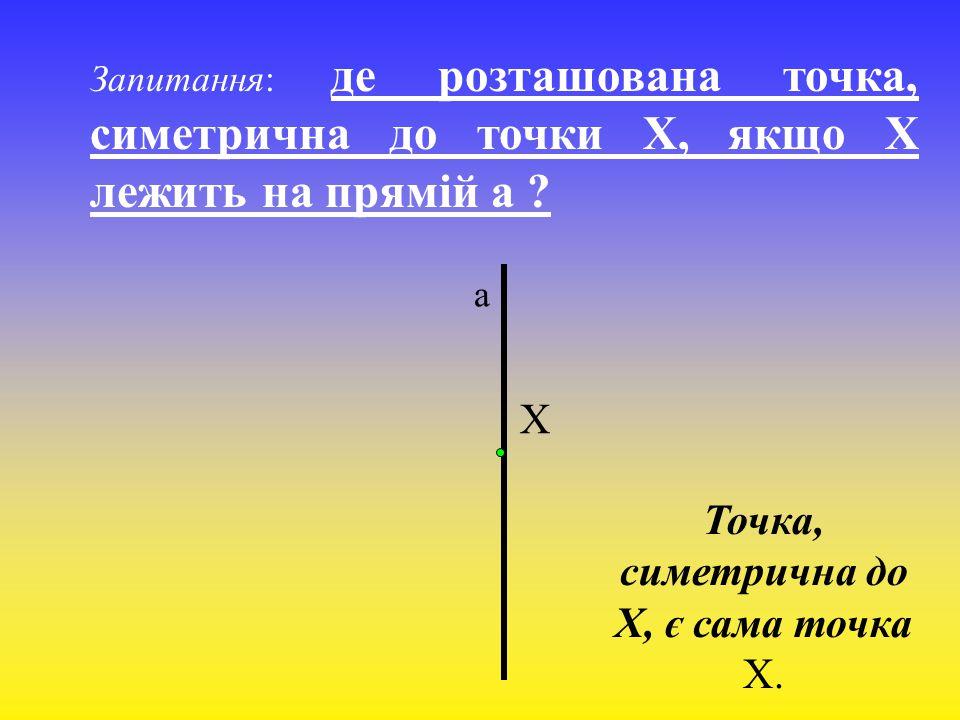 Точка, симетрична до Х, є сама точка Х.